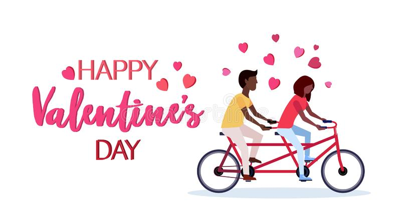 Para w miłość valentines dnia pojęcia amerykanin afrykańskiego pochodzenia mężczyzny kobiety jeździeckich tandemowych rowerowych  ilustracja wektor