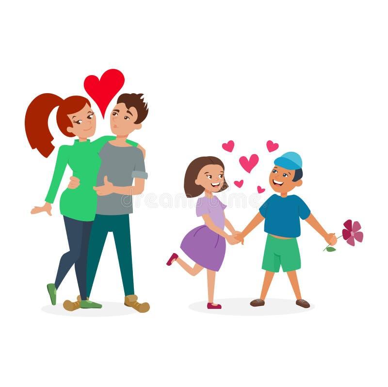 Para w miłość wektoru secie ilustracji