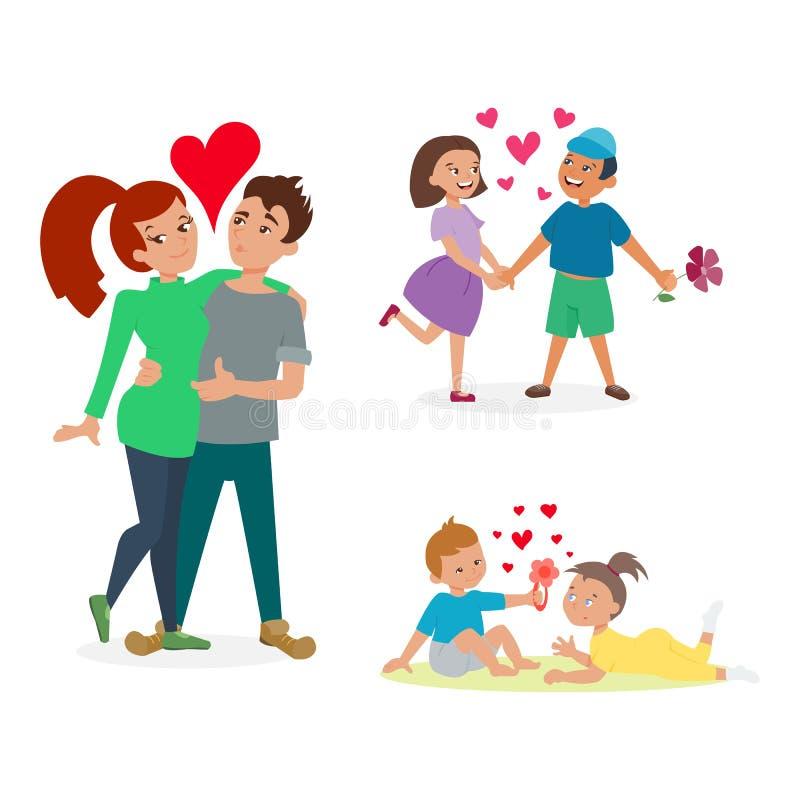 Para w miłość wektoru secie ilustracja wektor