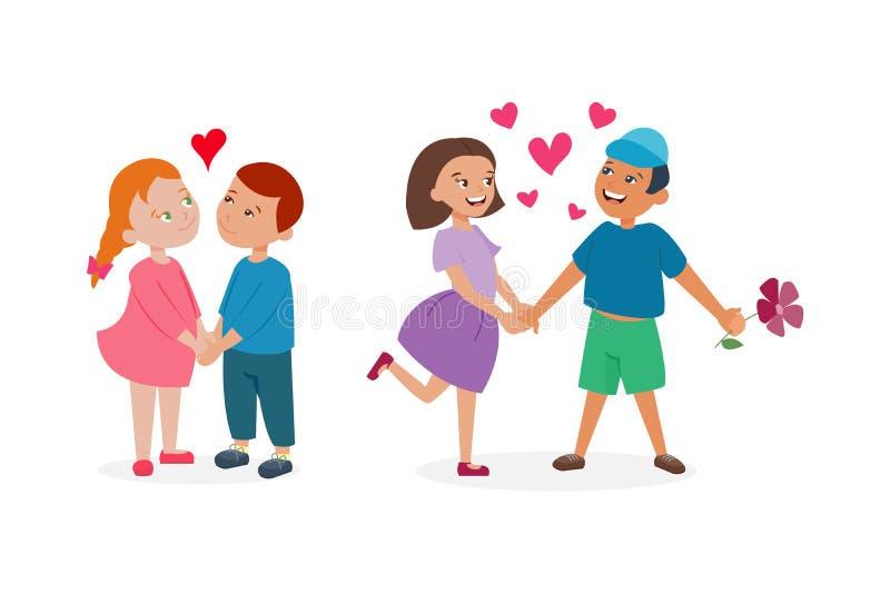 Para w miłość wektoru secie royalty ilustracja