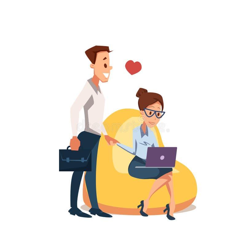 Para w miłości Siedzi w Beanbag krześle z laptopem ilustracja wektor