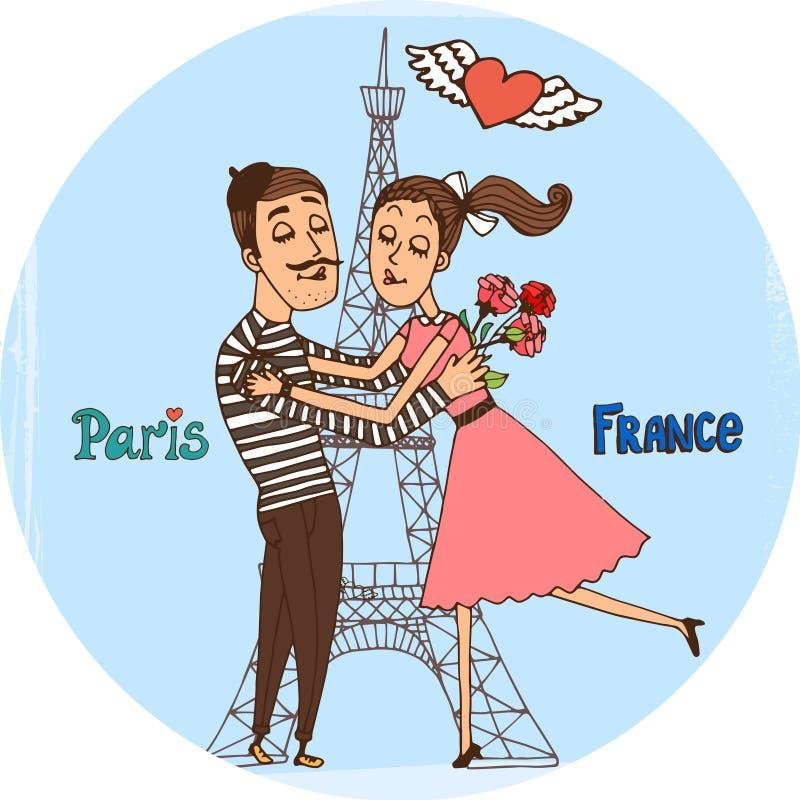 Para w miłości z wieżą eifla od Paryż royalty ilustracja