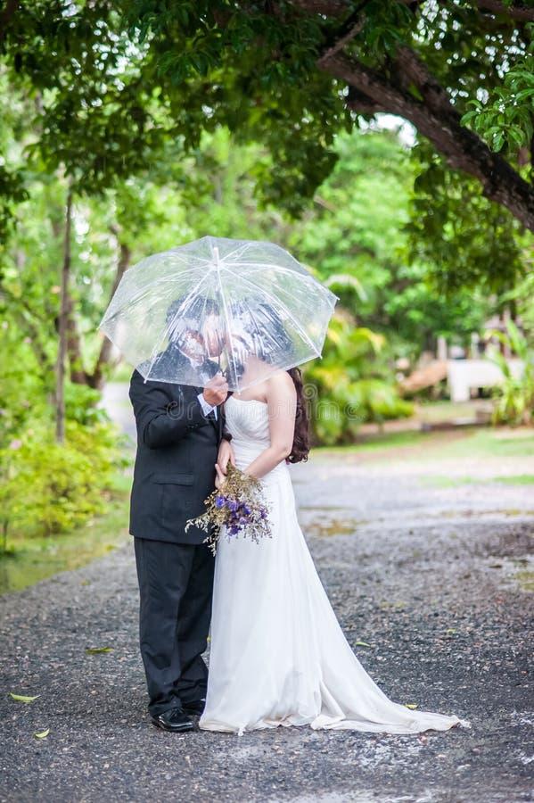 Para w ogródzie obrazy royalty free