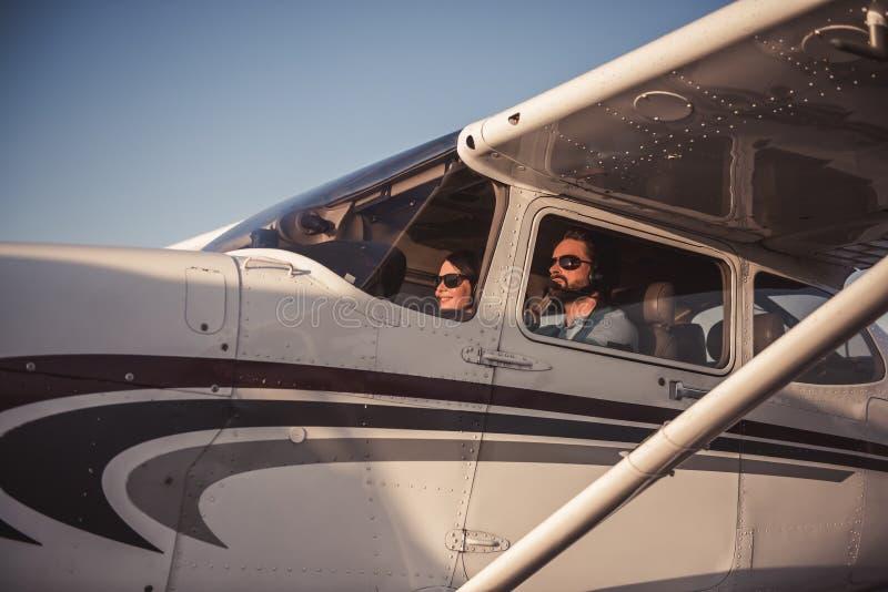 Para w samolocie fotografia stock