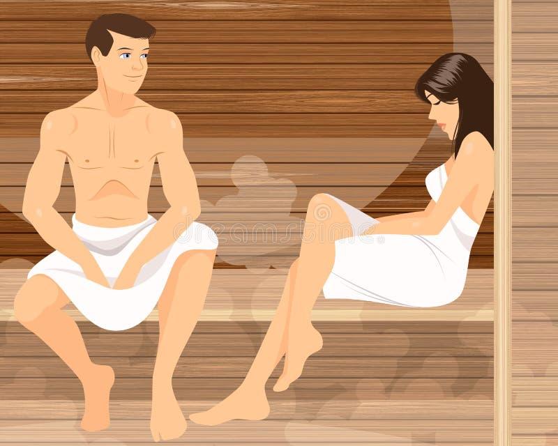 Para w sauna ilustracja wektor