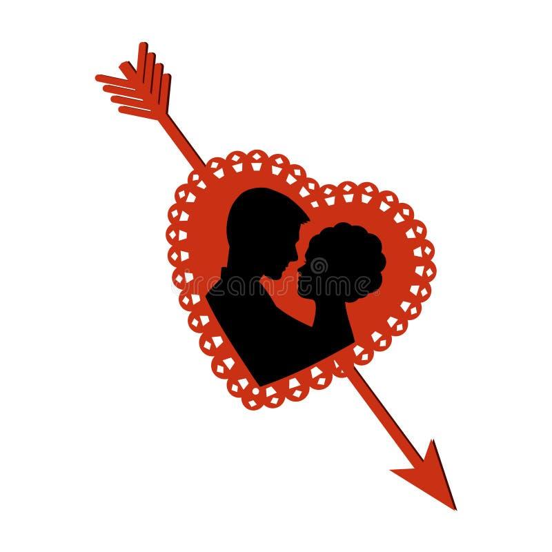 Download Para w sercu z strzała ilustracja wektor. Obraz złożonej z kardamon - 28917994