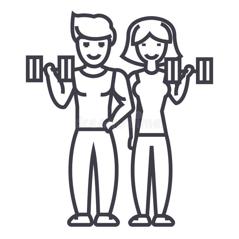 Para w sprawności fizycznej gym wektoru linii ikonie, znak, ilustracja na tle, editable uderzenia ilustracja wektor
