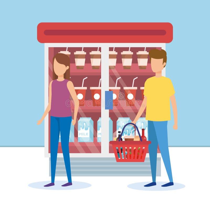 Para w supermarket chłodziarce z produktami ilustracji