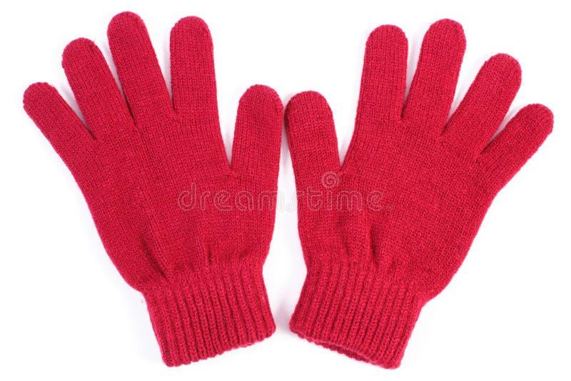 Para woolen rękawiczki dla kobiety na białym tle obraz royalty free