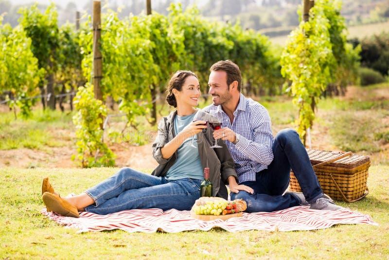 Para wznosi toast wineglasses przy gazonem obrazy stock
