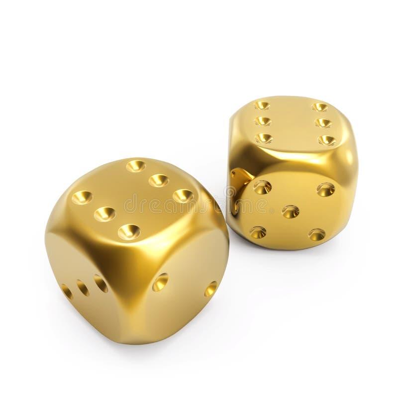 Para złoci kostka do gry ilustracji