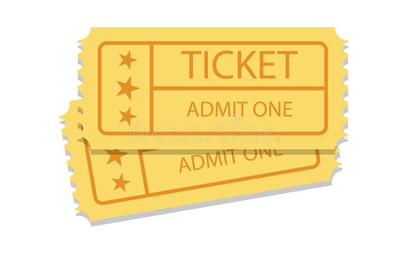 Para złoci rocznika kina bilety ilustracja wektor