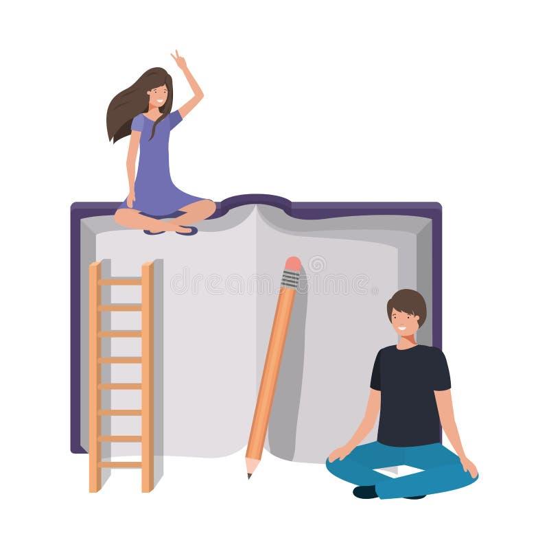 Para z krzyżującą tekst książką i ciekami ilustracji