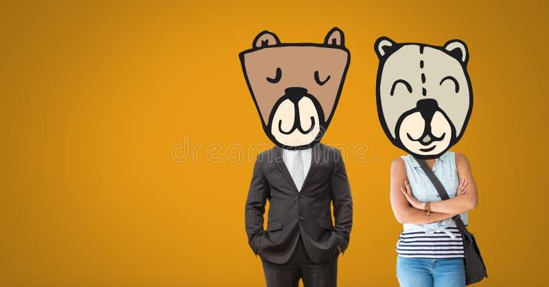 Para z niedźwiadkową zwierzę głowy twarzą fotografia stock