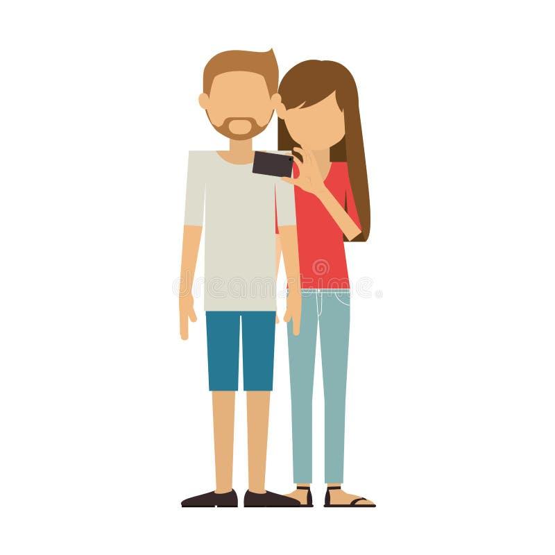 Para z skrótami mężczyzna i kobieta bierze selfie royalty ilustracja