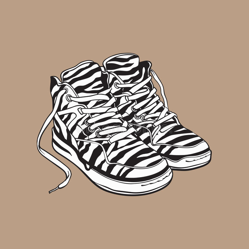 Para zebry deseniujący sneakers, sportów buty od 90s royalty ilustracja