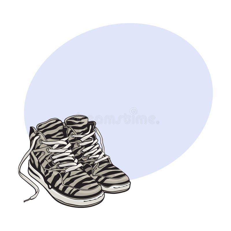 Para zebry deseniujący sneakers, sportów buty od 90s ilustracja wektor