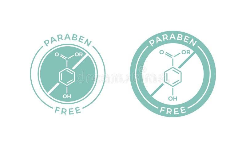 Paraben自由skincare化妆传染媒介标签象 库存例证