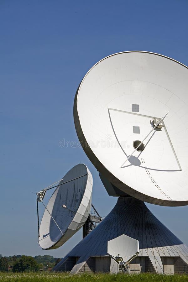 Parabolic antennas. In the Earth radio station in Raisting in Upper Bavaria stock image