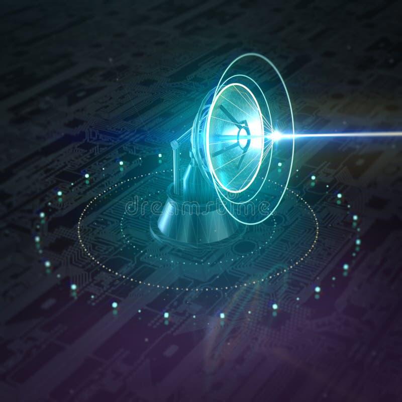 Parabolic radar lidar radio telescope dish.Global communication with Satellite shining data flow 3d rendering. Illustration stock photography