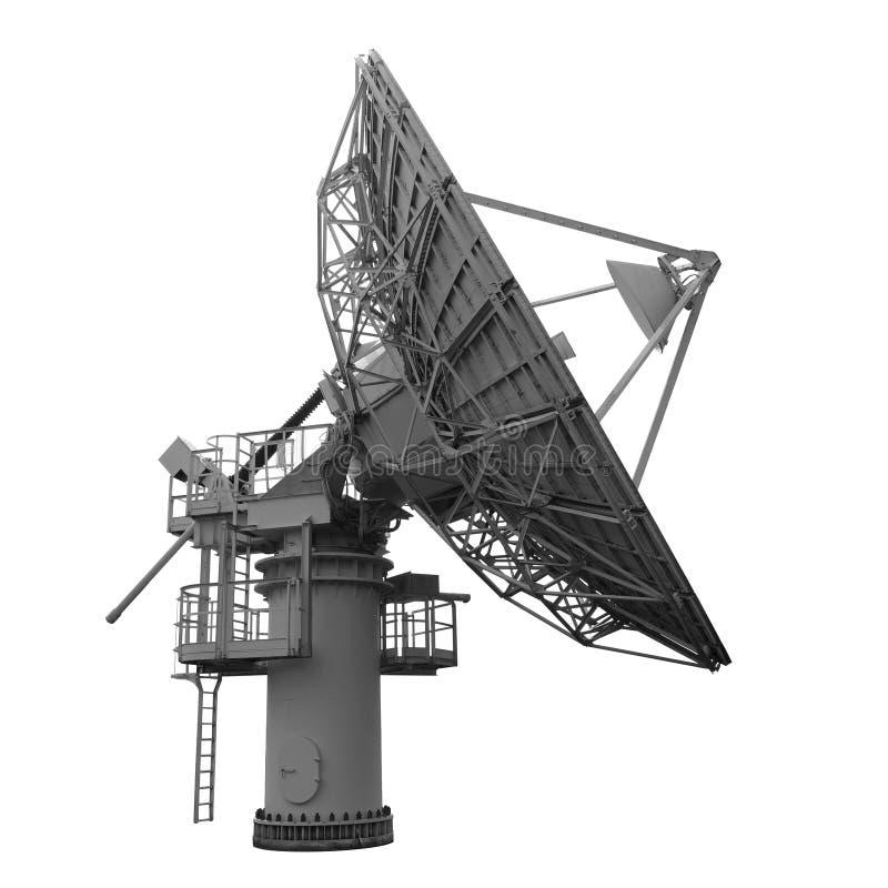 Parabolische antenne voor geïsoleerde satellietcommunicatie over wit royalty-vrije stock foto