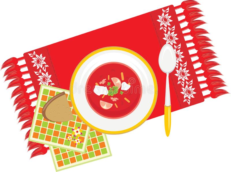 Paraboloïde avec le potage aux légumes sur la serviette