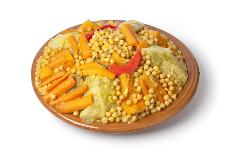 Paraboloïde marocain traditionnel avec le couscous photo stock