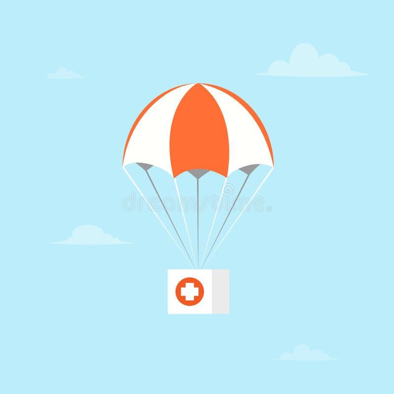 Paracaídas con los primeros auxilios stock de ilustración