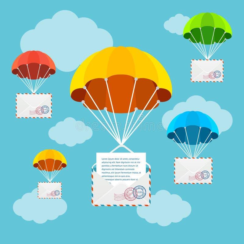 Paracaídas del reparto del correo en cielo Vector stock de ilustración