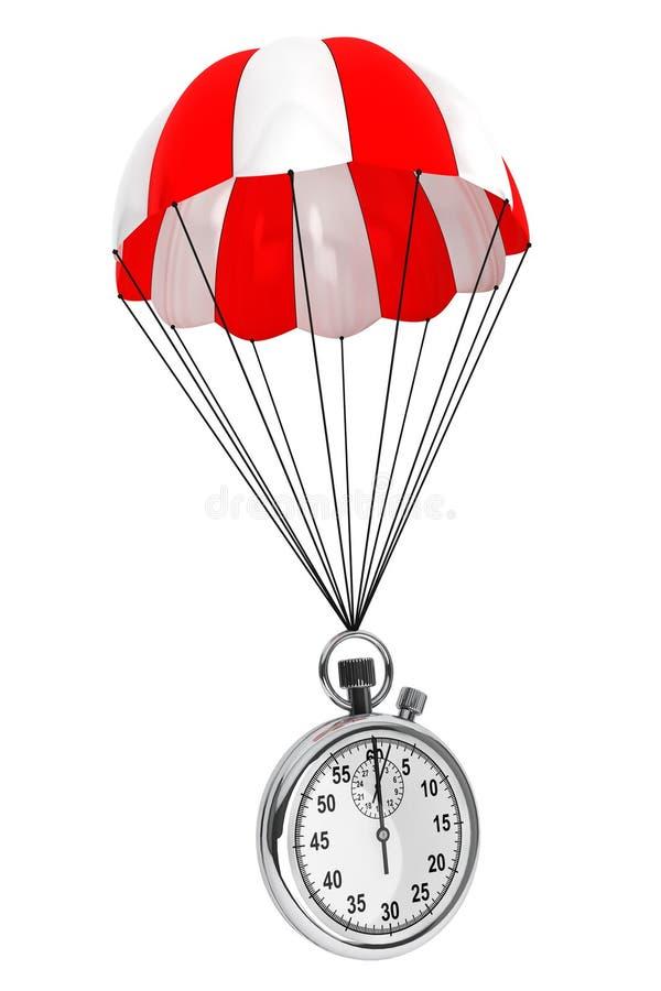 Paracaídas rojo y blanco con el cronómetro representación 3d ilustración del vector