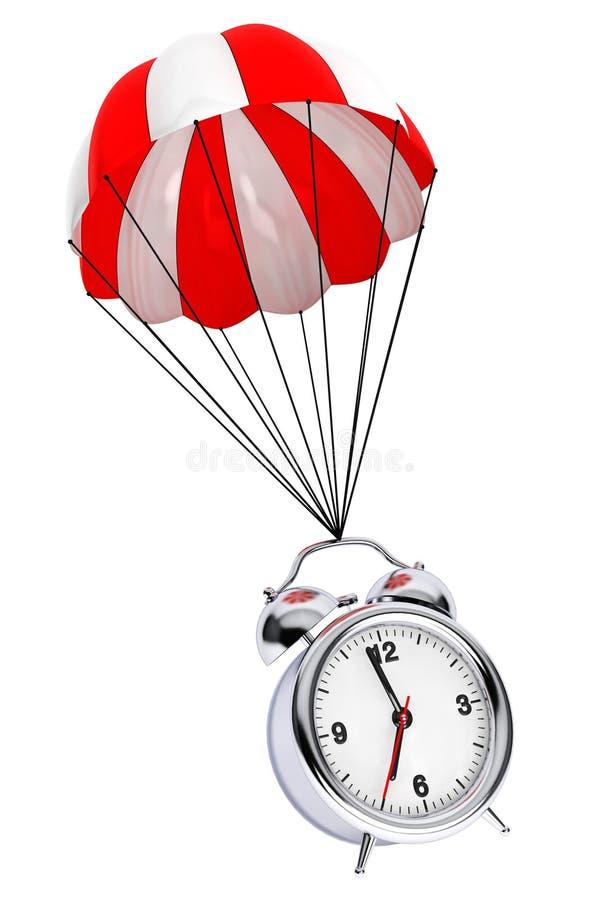 Paracaídas rojo y blanco con el despertador representación 3d libre illustration