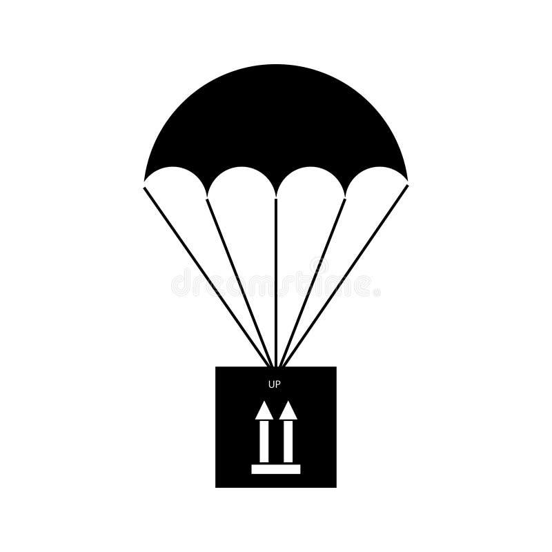 Paracadute di carico con un segno che indica la posizione verticale corretta del carico - linea sottile royalty illustrazione gratis