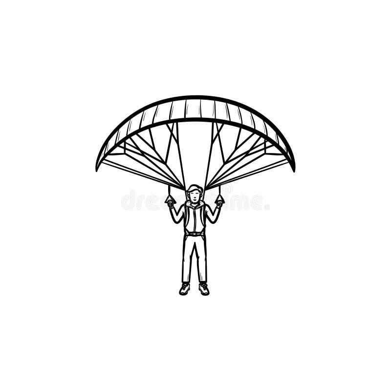 Paracadutista con l'icona disegnata a mano di scarabocchio del profilo del paracadute royalty illustrazione gratis