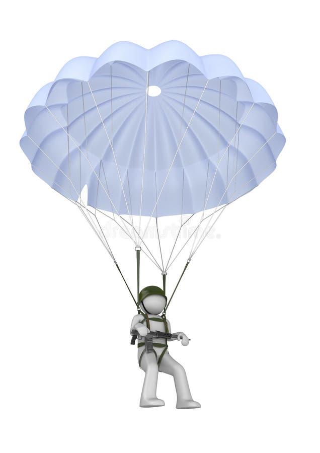 Paracadutista di atterraggio con il fucile illustrazione vettoriale