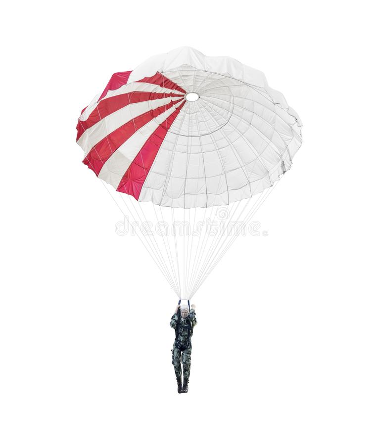 Paracadutista di modello di un paracadutista militare isolato su bianco immagini stock libere da diritti