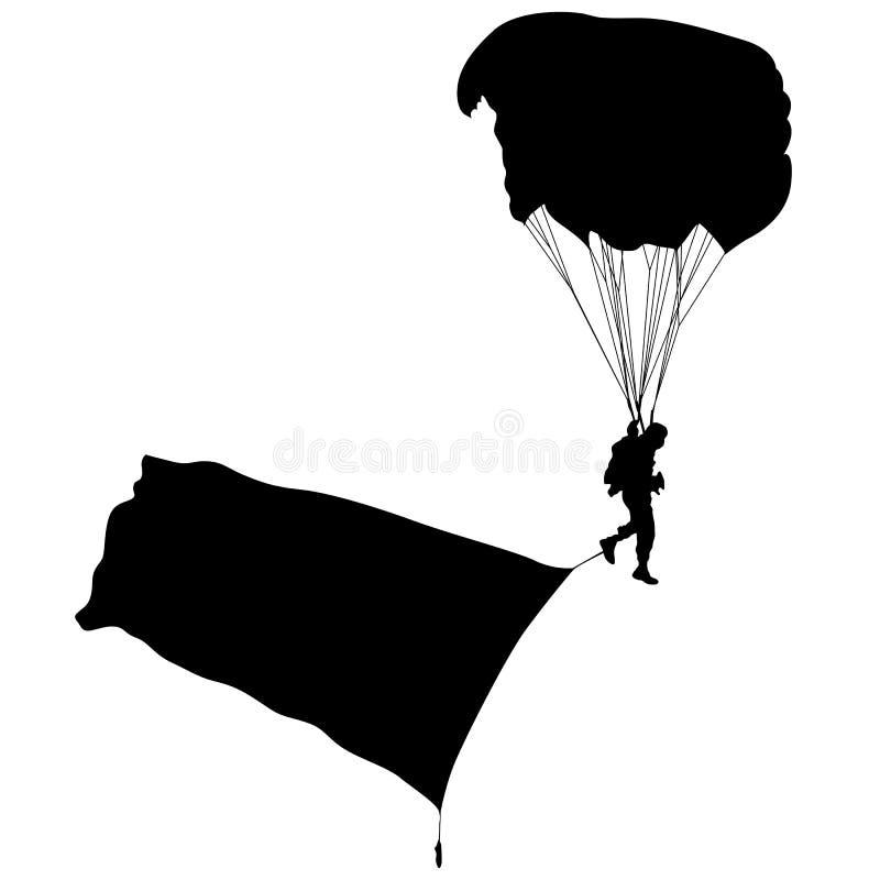 Paracadutista, illustrazione paracadutante di vettore delle siluette illustrazione di stock