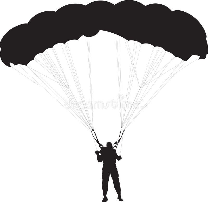 Paracadutista, siluetta dell'uomo del paracadute, illus in bianco e nero di vettore illustrazione vettoriale