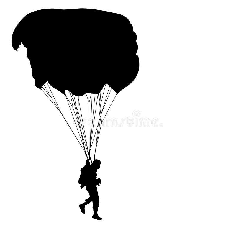 Paracadutista, siluette paracadutante su un fondo bianco illustrazione vettoriale