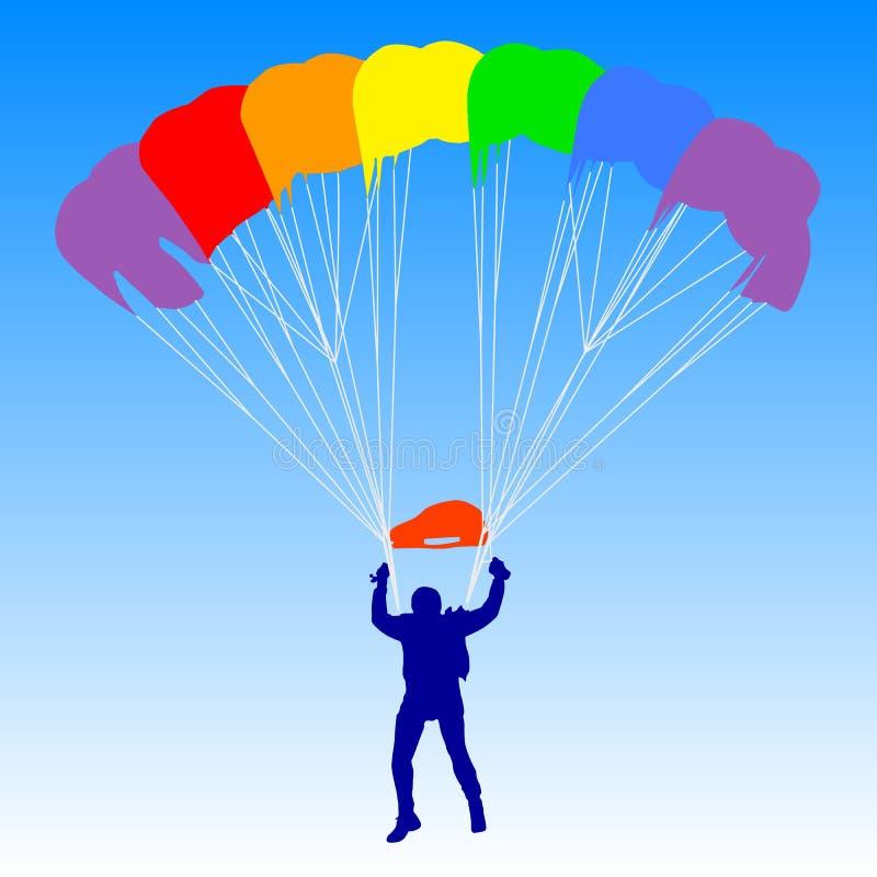 Paracadutista, siluette paracadutare dell'arcobaleno illustrazione vettoriale