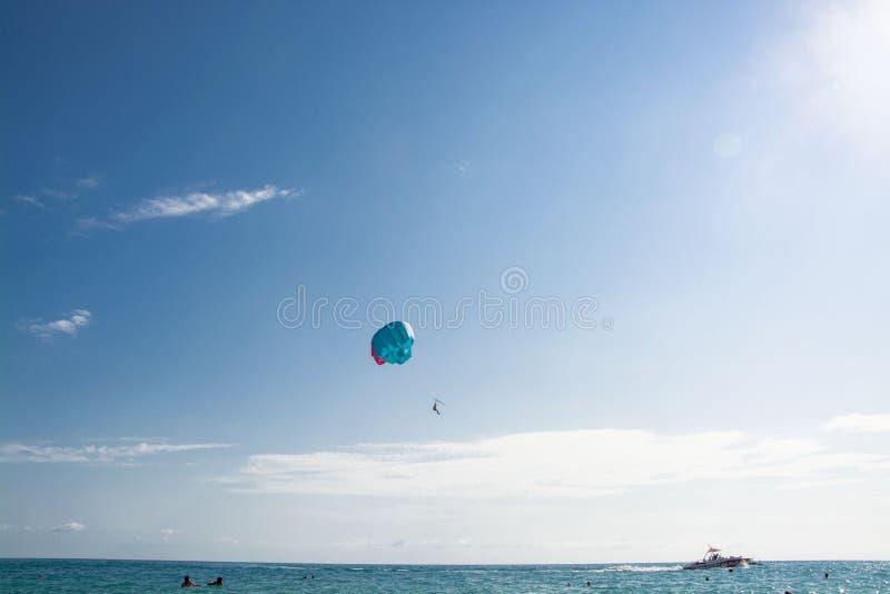 Paracadutista sopra la libertà del vento del mare fotografia stock libera da diritti