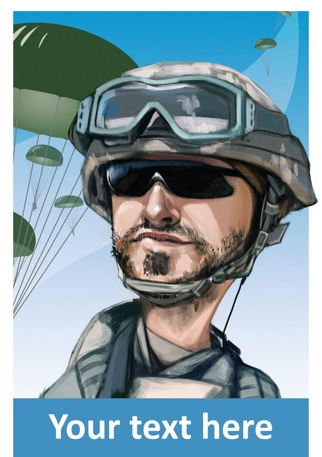 Paracaidista de Estados Unidos stock de ilustración
