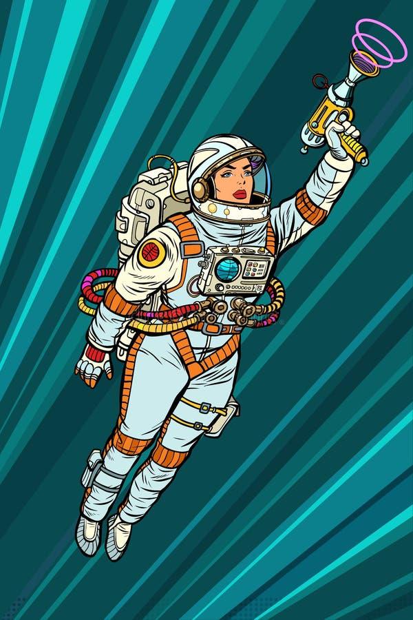 Paracaidista del astronauta de la mujer del super héroe con el arenador, fict de la ciencia stock de ilustración