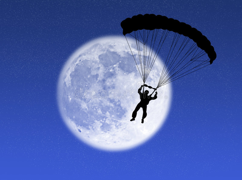 Paracaidista en la luna fotografía de archivo libre de regalías