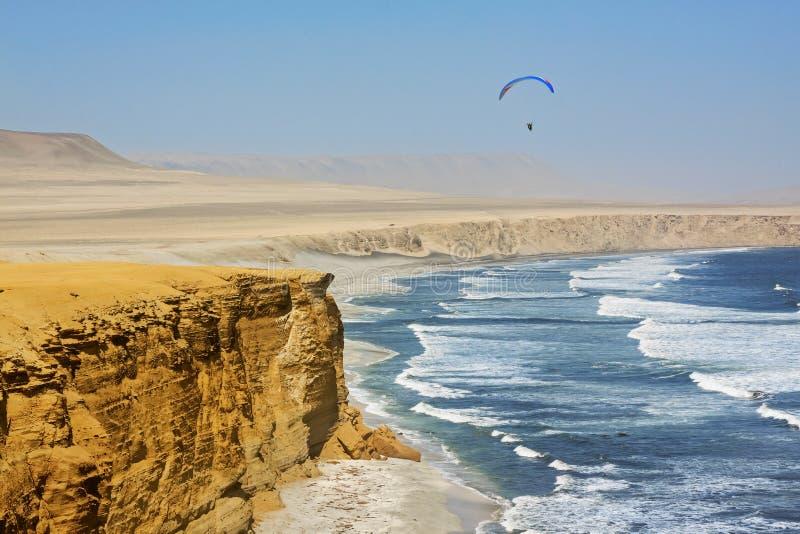Paracas National Reserve, Ica-regionen, Peru Paracashalvön ligger söder om Lima och är hem till Paracas National royaltyfri bild