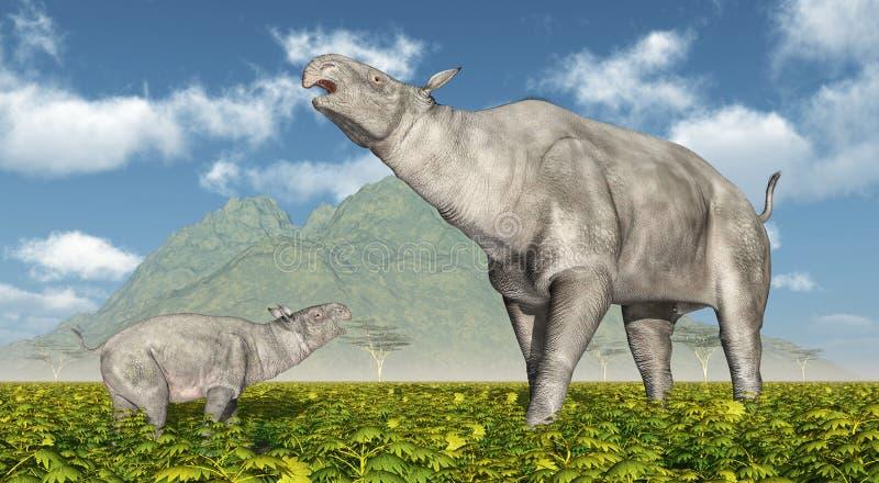 Paraceratherium illustration stock