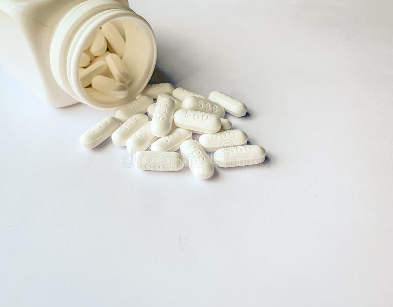 Paracetamol, medicina oral, píldoras blancas fotos de archivo libres de regalías
