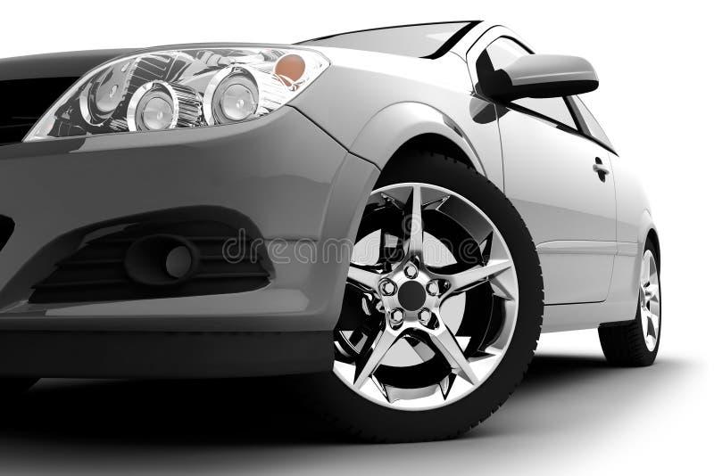 Parachoques delanteros, luz y rueda del coche en blanco. Detalle ilustración del vector