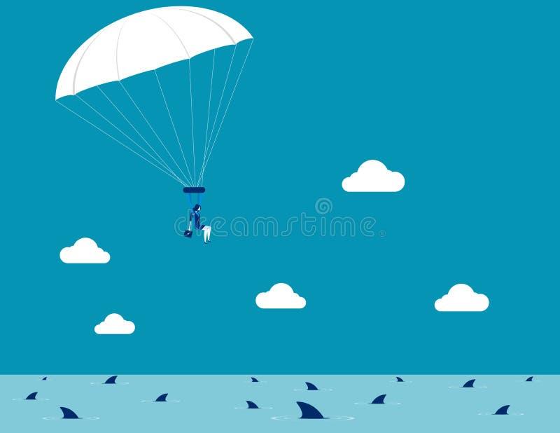 Parachutage de femme d'affaires Illustration de vecteur d'affaires de concept illustration libre de droits