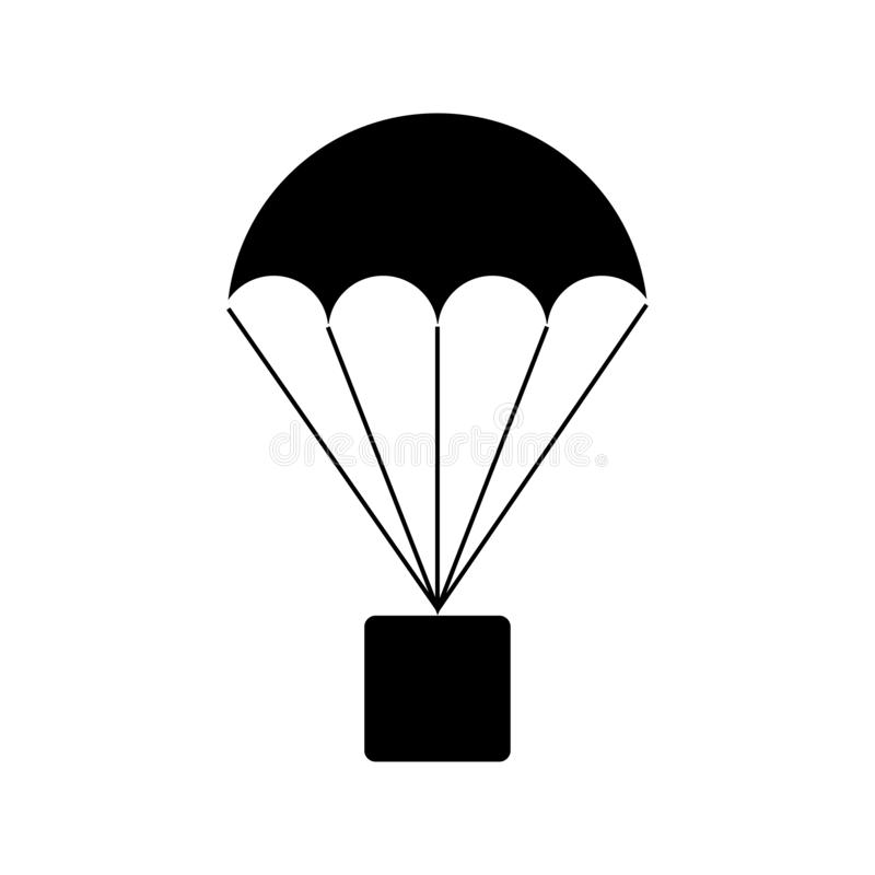 Parachute with box parcel sign. Thin line stock illustration