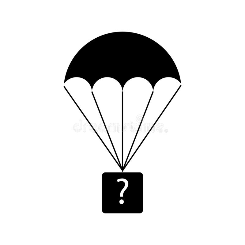 Parachute with a box with a question mark. Black icon royalty free illustration